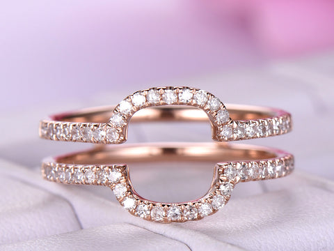Diamond Wedding Ring Guard 14k Rose Gold