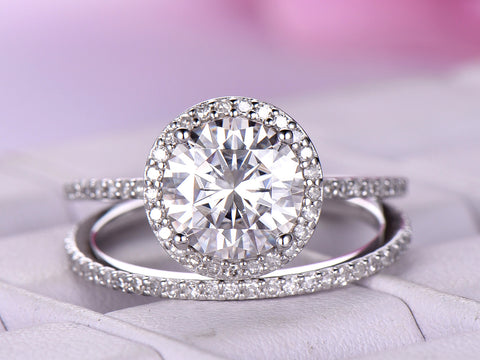 Round Moissanite Engagement Ring Bridal Sets Full Enternity Diamond Band 14K White Gold 8mm