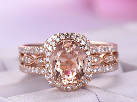 Oval Morganite Engagement Ring Forever Together Sets Diamond Ring Guard 14K Rose Gold 6x8mm