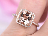 Cushion Morganite Engagement Ring Prong Set Accent Diamonds 14K Rose Gold 8mm
