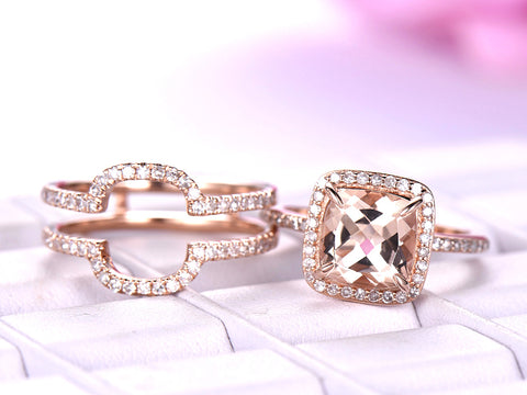 Cushion Morganite Ring Forever-Together Sets Diamond Ring Guard 14K Rose Gold 8mm