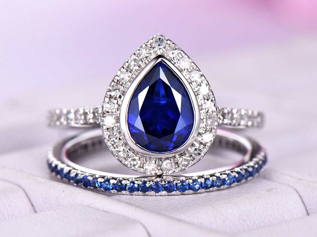 6efe4fb27f730 Pear Sapphire Engagement Ring Sets Full Eternity Sapphire Band 14K White  Gold 6x8mm