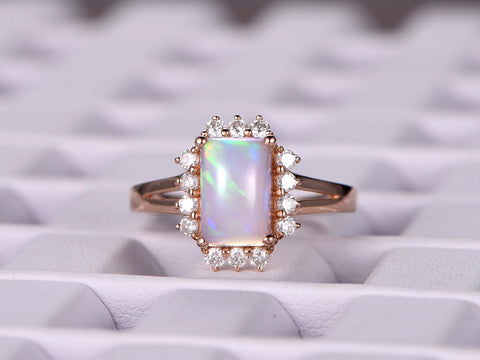 Emerald Cut Africa Opal Engagement Ring VS Diamond Wedding 14K Rose Gold 7x9mm
