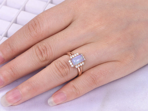 blue item anniversary myray gold engagement rings natural wedding ring white emerald cut diamond aquamarine
