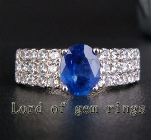 Oval Sapphire Engagement Ring Diamond Wedding 14K White Gold 2.39ctw - Lord of Gem Rings - 1