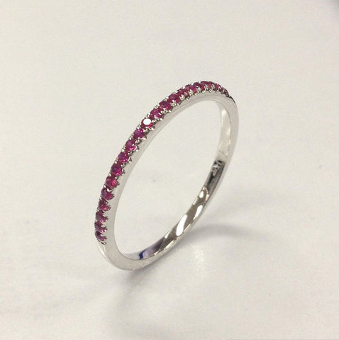Reserved for Brad French Pave Ruby Wedding Band Eternity Ring 14K Rose Gold - Lord of Gem Rings - 1