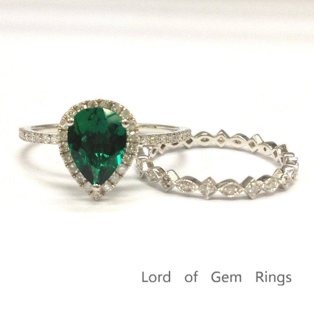 Pear Emerald Engagement Ring Sets Pave Diamond Wedding 14K White Gold 6x8mm Art Deco - Lord of Gem Rings - 1