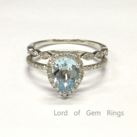 Pear Aquamarine Engagement Ring Sets Pave Diamonds Wedding 14K White Gold 6x8mm Art Deco - Lord of Gem Rings - 1