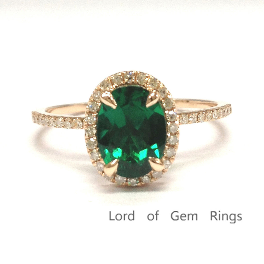 Oval Emerald Engagement Ring Pave Diamond Halo 14K Rose Gold 6x8mm - Lord of Gem Rings - 1