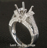 Diamond Engagement Semi Mount Ring 14K White Gold Setting Round 8-8.5mm - Lord of Gem Rings - 1