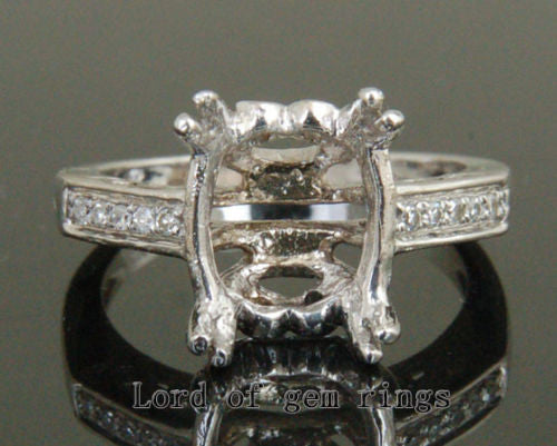Diamond Engagement Semi Mount Ring 14K White Gold Setting Oval 9x11mm Filgree - Lord of Gem Rings - 1