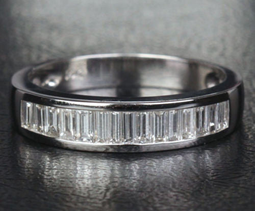 Baguette VS/H Diamond Wedding Band Anniversary Ring 14K White Gold Channel Set - Lord of Gem Rings - 1