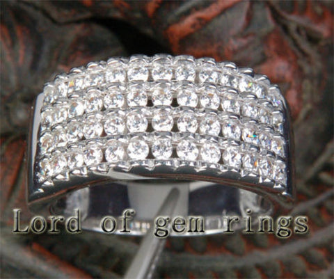 Diamond Wedding Band Engagement Ring 14K White Gold 1.02ctw Gorgeous Channel - Lord of Gem Rings - 1
