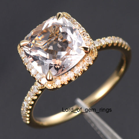 Ready to Ship - Cushion Morganite Engagement Ring Pave Diamond Wedding 14K Yellow Gold 8mm - Lord of Gem Rings - 1