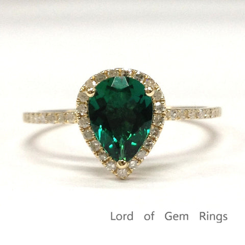 Pear Emerald Engagement Ring Pave Diamond Wedding 14K Yellow Gold 6x8mm - Lord of Gem Rings - 1
