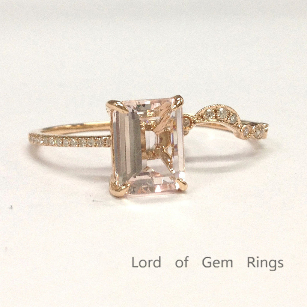 829 emerald cut morganite engagement ring sets pave. Black Bedroom Furniture Sets. Home Design Ideas