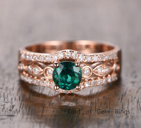 Round Emerald Engagement Ring Pave Diamond Wedding 14K Rose Gold  5mm, Three Row - Lord of Gem Rings - 1