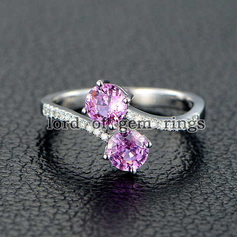Double Round Pink Sapphire Engagement Ring Pave Diamond Wedding 14K White Gold Curved - Lord of Gem Rings - 1