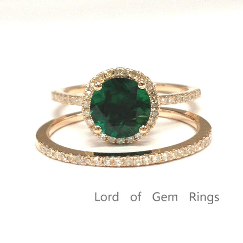 Round Emerald Engagement Ring Sets Pave Diamond Wedding 14k Rose Gold 7mm - Lord of Gem Rings - 1