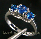Round Blue Sapphires Engagement Ring 14K White gold  three stones 1.10ct - Lord of Gem Rings - 1