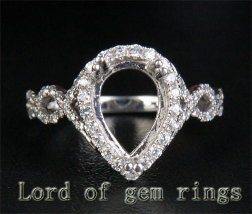 Diamond Engagement Semi Mount Ring 14K White Gold Setting Pear 7x10mm - Lord of Gem Rings - 1