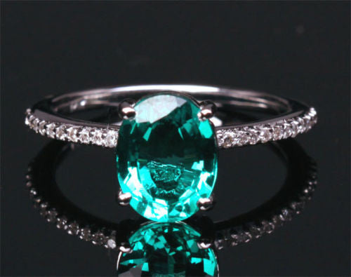 Oval Emerald Engagement Ring Pave Diamond Wedding 14k White Gold 7x9mm - Lord of Gem Rings - 1