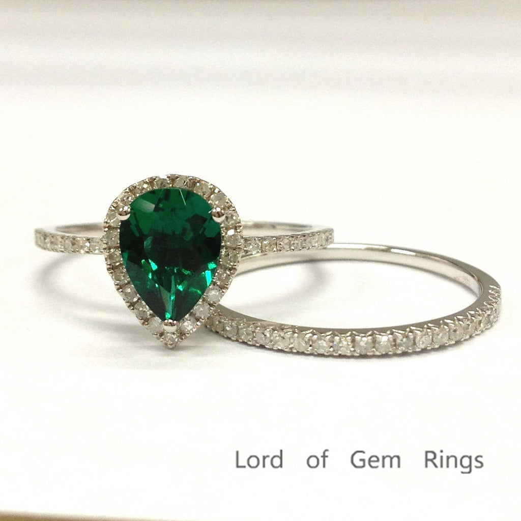Pear Emerald Engagement Ring Sets Pave Diamond Wedding 14K White Gold 6x8mm - Lord of Gem Rings - 1