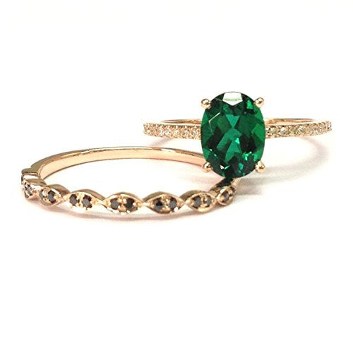 Oval Emerald Engagement Ring Sets Pave Diamond Wedding 14K Rose Gold,6x8mm,Black Diamond Band - Lord of Gem Rings - 1