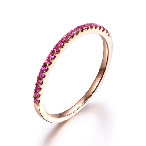 Pave Red Ruby Wedding Band Half Eternity Anniversary Ring 14K Rose Gold Brilliant - Lord of Gem Rings - 1