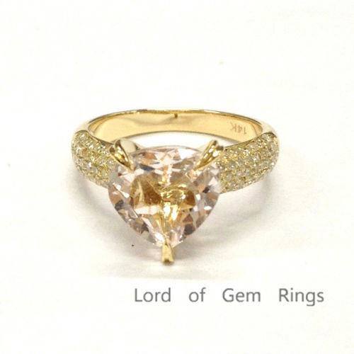 Heart Shape Morganite Engagement Ring Pave Diamond Wedding 14K Yellow Gold 9mm - Lord of Gem Rings - 1