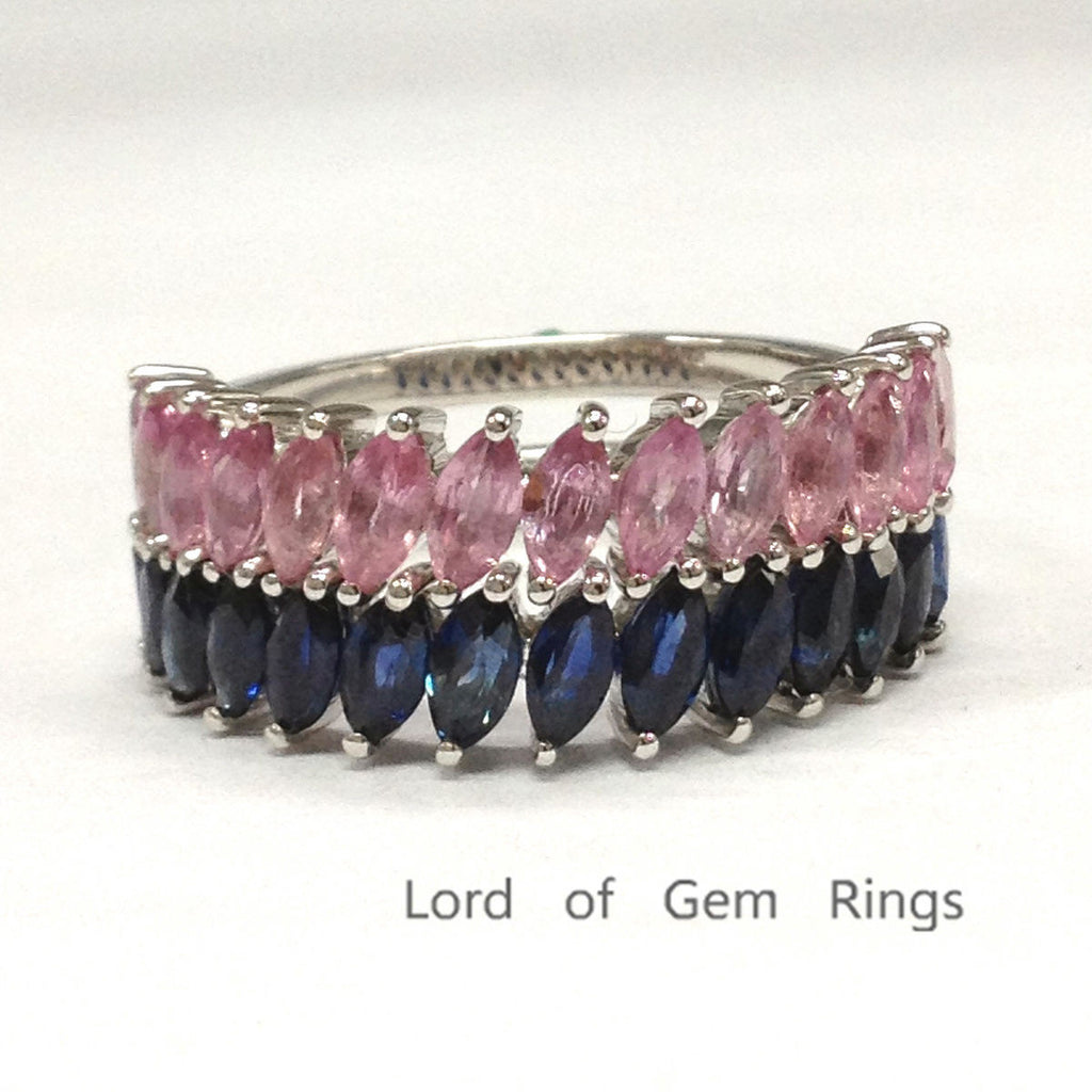 Marquise Blue&Pink Sapphire Wedding Band Sets Half Eternity Anniversary Ring 14K White Gold 2x4mm - Lord of Gem Rings - 1
