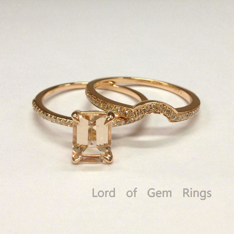 Emerald cut Morganite Engagement Ring Sets Diamonds Wedding Band 14K Rose Gold 6x8mm - Lord of Gem Rings - 1