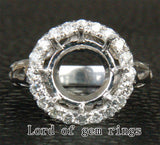 Diamond Engagement Semi Mount Ring 14K White Gold Setting Round 11mm - .45ct VS/H - Lord of Gem Rings - 1