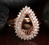 Diamond Engagement Semi Mount Ring 14K Rose Gold Setting Pear 8x12mm - Lord of Gem Rings - 1