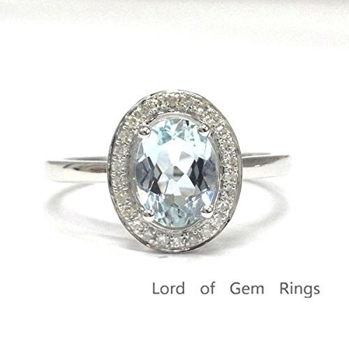 Oval Aquamarine Engagement Ring Pave Diamond Halo 14K White Gold 6x8mm - Lord of Gem Rings - 1