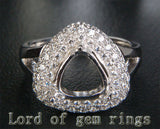 Diamond Engagement Semi Mount  Ring 14K White Gold Setting Trillion 9mm - Lord of Gem Rings - 1