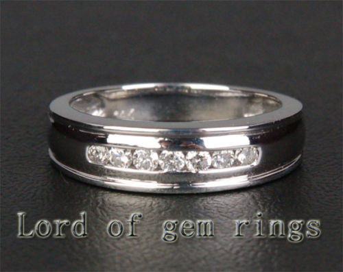 Diamond Engagement Ring Wedding Band 14K White Gold Channel Set - Lord of Gem Rings - 1