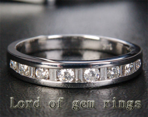 Baguette/Round Diamond Wedding Band Half Eternity Anniversary Ring 14K White Gold .71CT Channel - Lord of Gem Rings - 1