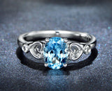 Oval Aquamarine Engagement Ring Pave Diamond Wedding 14K White Gold 6x8mm - Lord of Gem Rings - 1