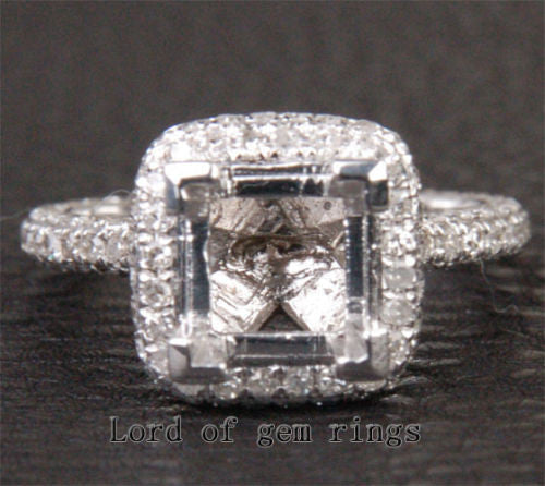 Diamond Engagement Semi Mount Ring 14K White Gold Setting Princess 6.5mm - Lord of Gem Rings - 1