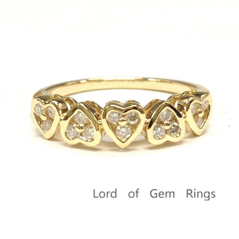 Diamond Wedding Band Anniversary Ring 14K Yellow Gold Unique 5 Hearts Shaped Bezel Set - Lord of Gem Rings - 1