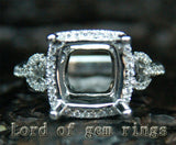Diamond Engagement Semi Mount Ring 14K White Gold Setting Cushion 10mm - Lord of Gem Rings - 1