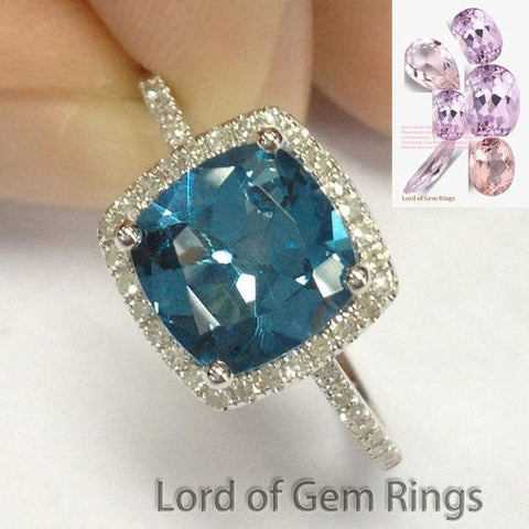 Cushion London Blue Topaz Engagement Ring Pave Diamond  Wedding 14K White Gold,7mm - Lord of Gem Rings - 1