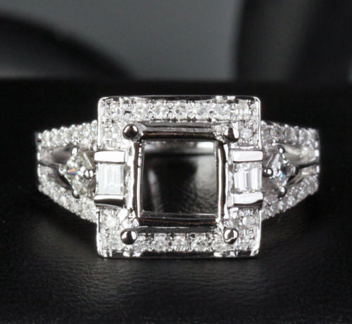Diamond Engagement Semi Mount Ring 14K White Gold Setting Princess 7mm - Lord of Gem Rings - 1