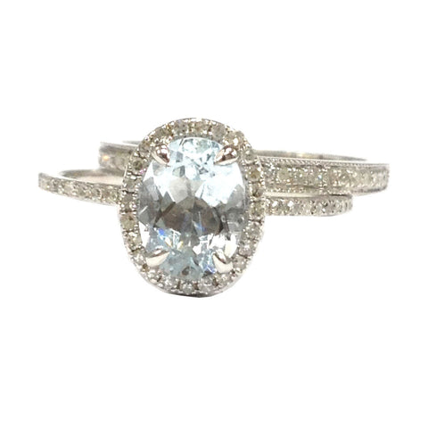 Oval Aquamarine Engagement Ring Sets Pave Diamond Wedding 14K White Gold 6x8mm Milgrain Band - Lord of Gem Rings - 1