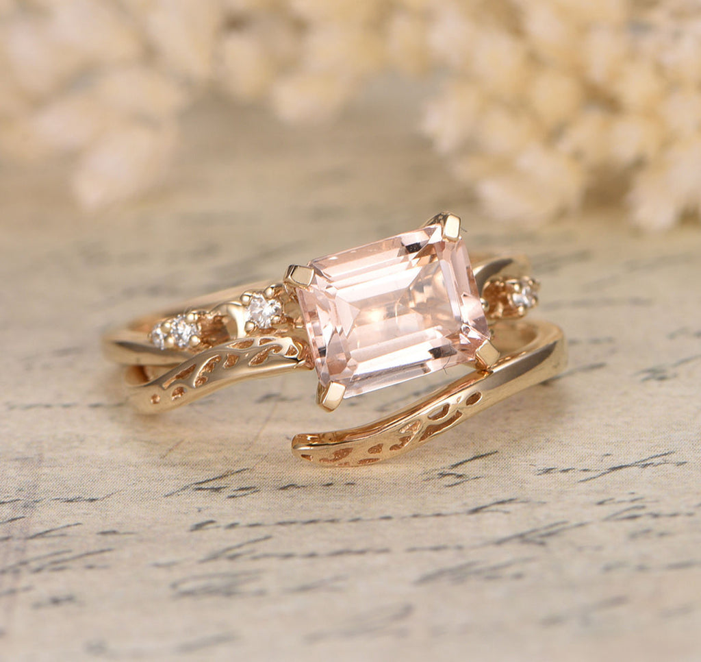 Emerald Cut Morganite Engagement Ring 14K Yellow Gold 7x9mm E-W Direction, Vintage Style - Lord of Gem Rings - 1