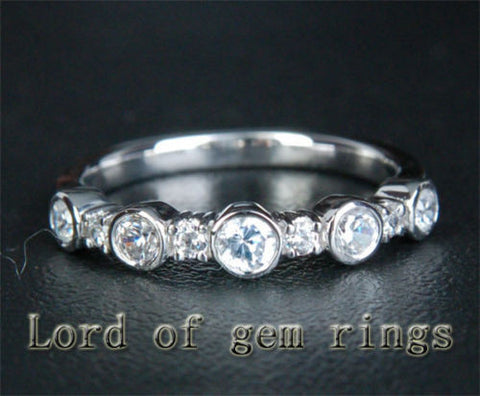 Diamond Wedding Band Half Eternity Anniversary Ring 14K White Gold Bezel - Lord of Gem Rings - 1