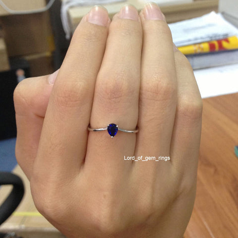 Pear Blue Sapphire Engagement Ring 14K White Gold 4x5mm Solitary - Lord of Gem Rings - 1