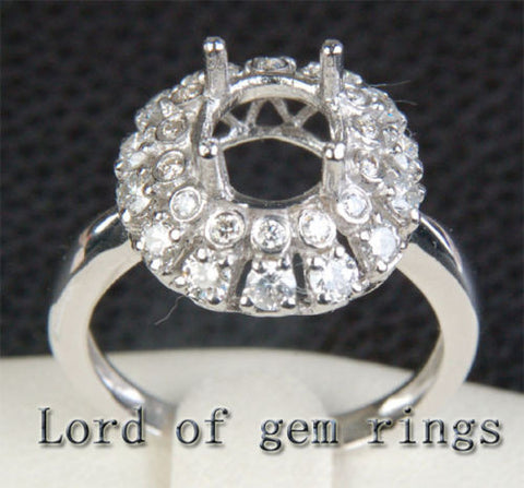 Flower 7x8.5mm Oval Cut 14K White Gold .38ct Diamonds Engagement Semi Mount Ring - Lord of Gem Rings - 1