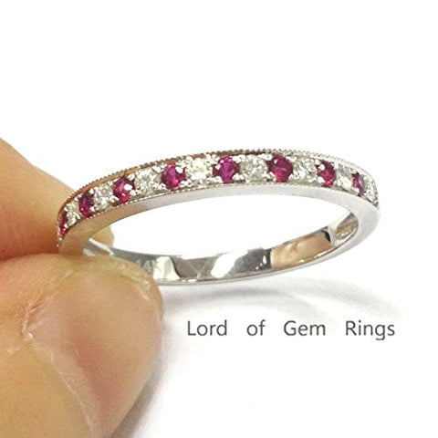 Moissanite Ruby Wedding Band Half Eternity Anniversary Ring 14K White Gold  Milgrain - Lord of Gem Rings - 1